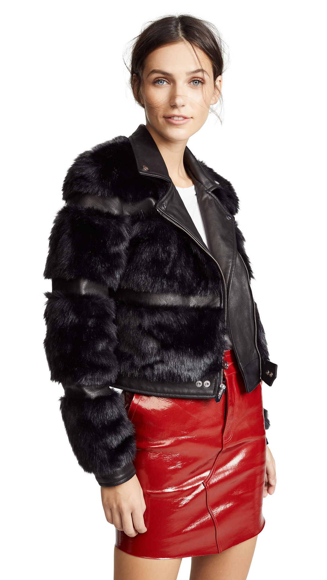 The Mighty Company Bristol Faux Fur Moto Jacket - Black