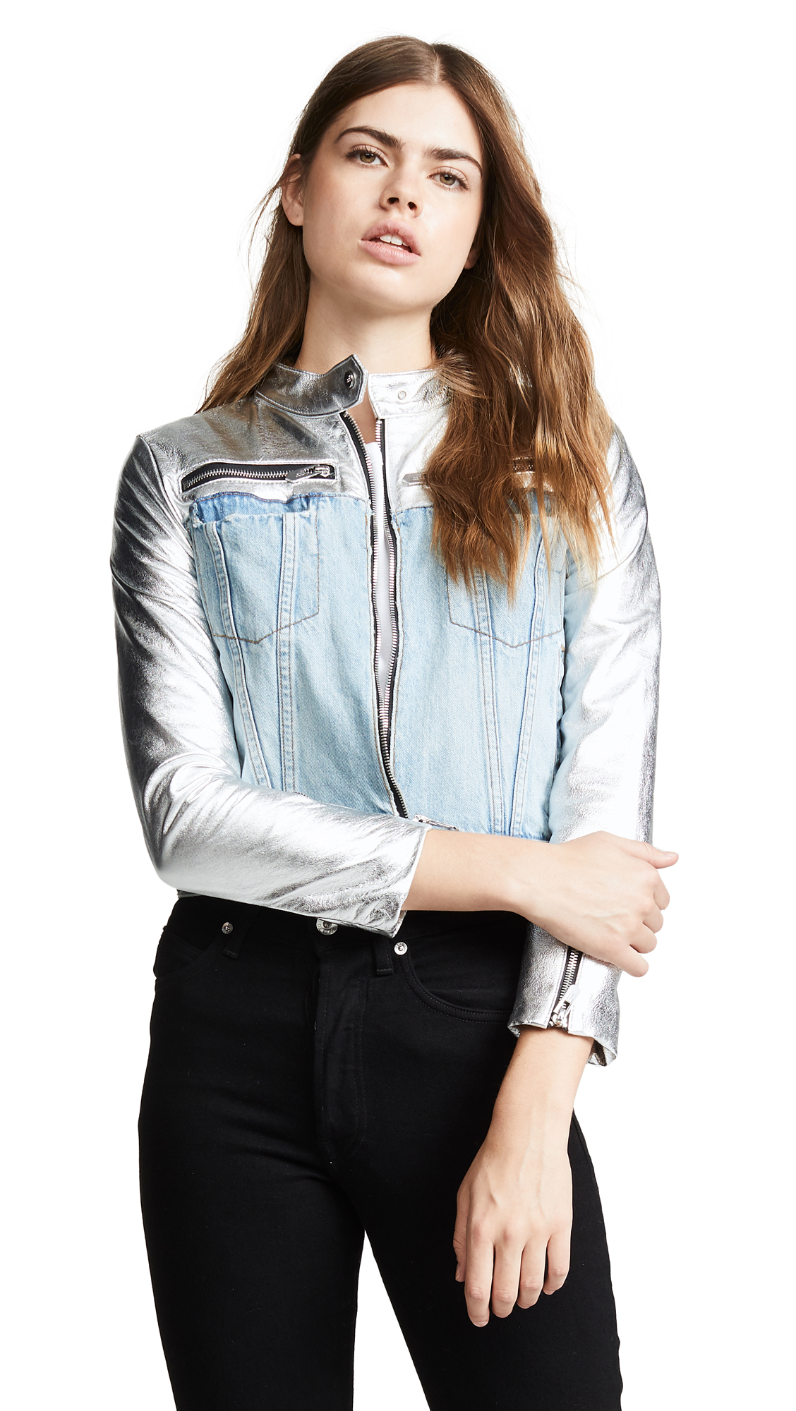 The Mighty Company Manchester Denim & Leather Jacket - Silver/Blue