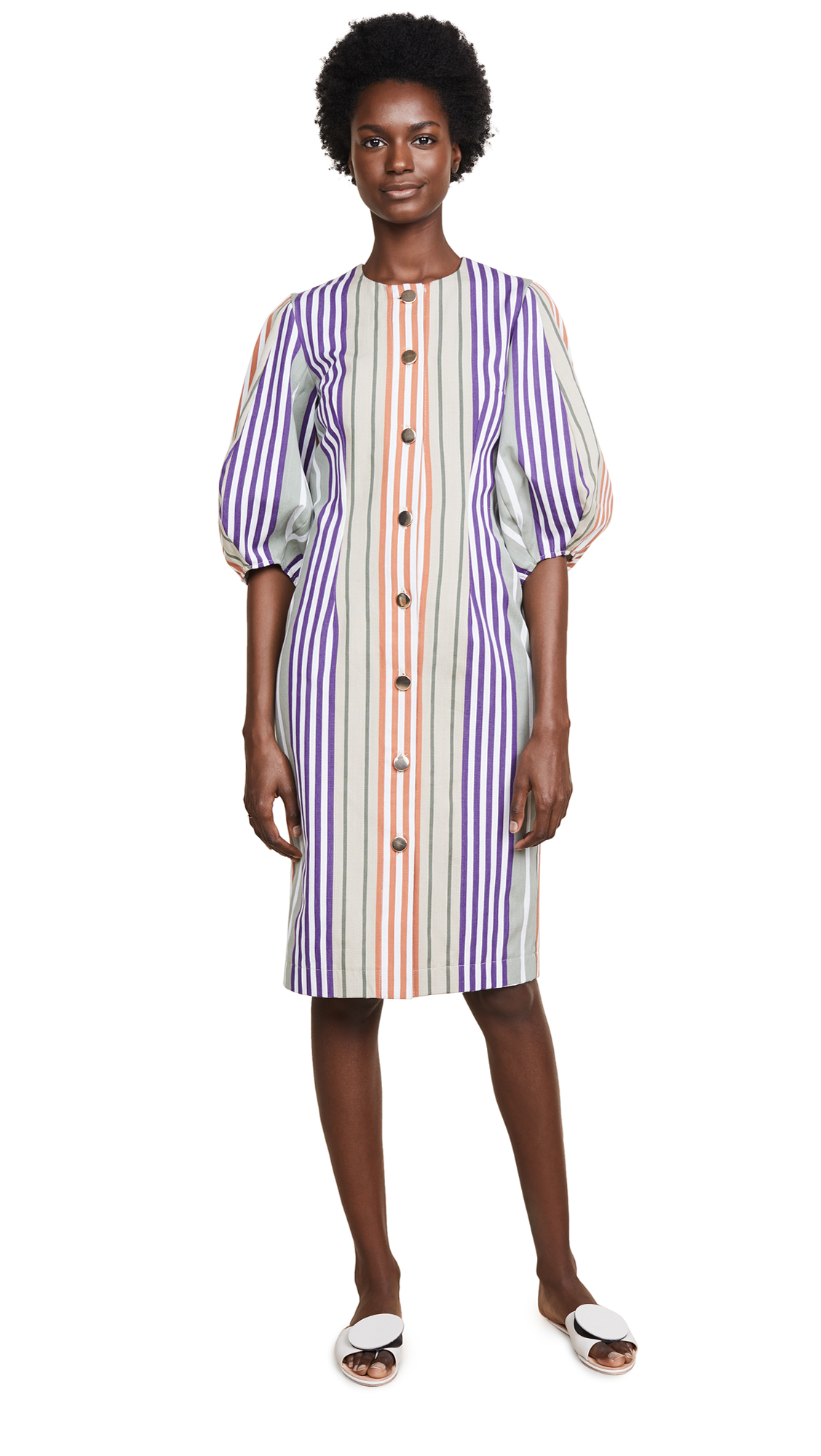 Tata Naka Button Down Dress with Puff Sleeves In Multi Stripe