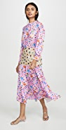 Tata Naka Print Dress with Beaded Peplum