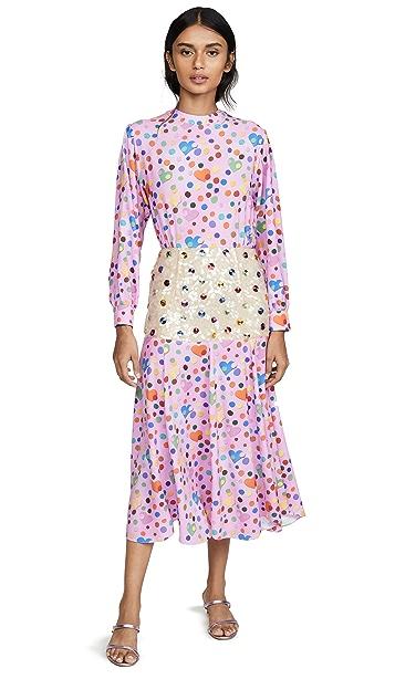 Tata Naka Print Dress with Beaded Peplum