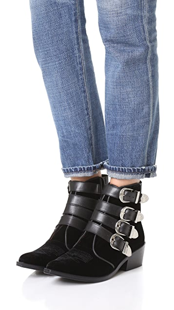 Toga Pulla Velvet Buckled Booties