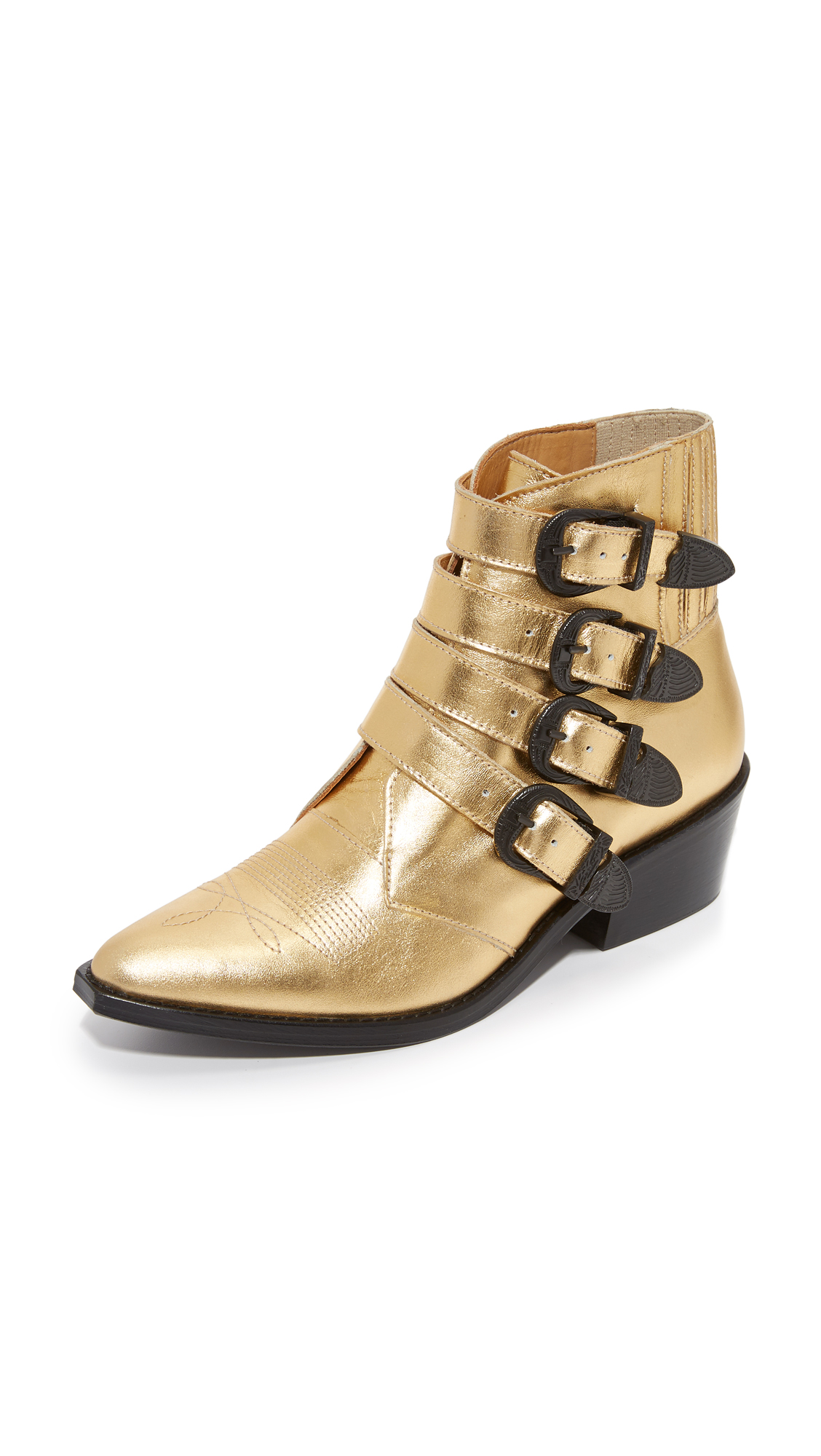 Toga Pulla Metallic Buckled Booties - Metallic Gold