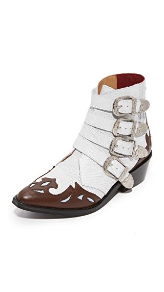 Toga Pulla Cowboy Buckle Booties - White Embossed