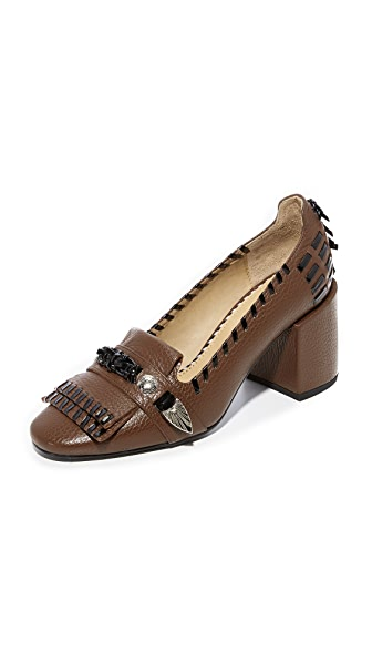 Toga Pulla Kiltie Stitch Pumps In Brown