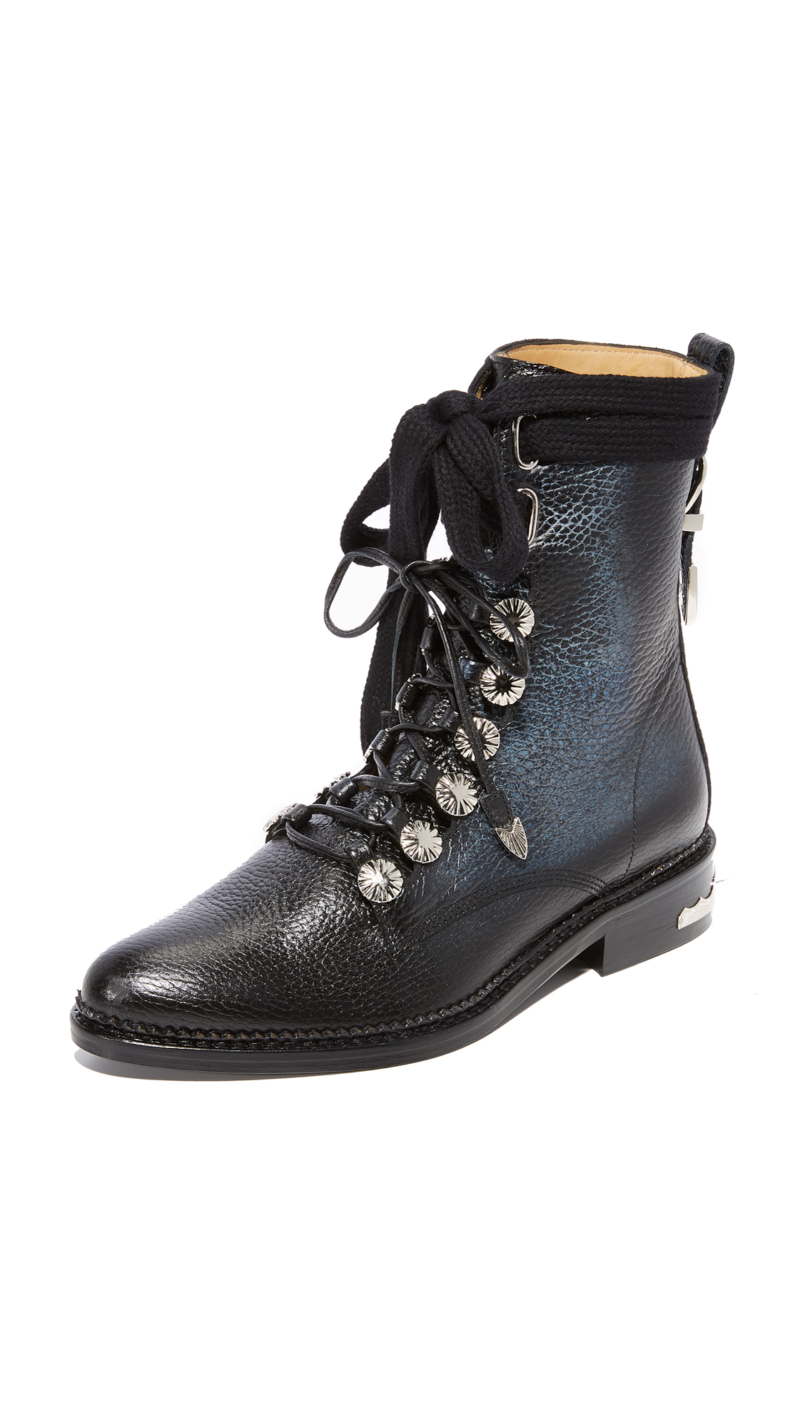 Toga Pulla Pebbled Combat Boots - Black