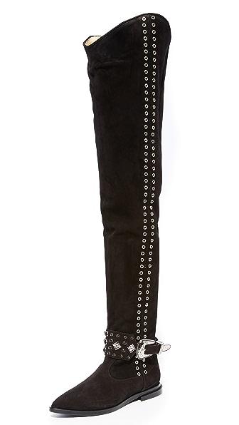 Toga Pulla Thigh High Rivet Boots - Black