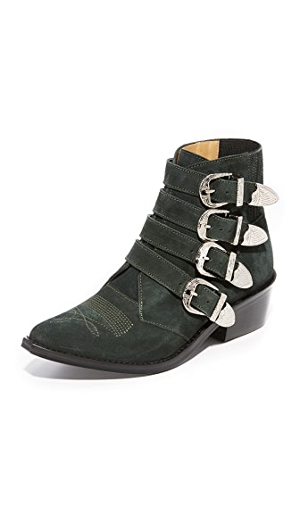 Toga Pulla Western Buckle Booties - Dark Green