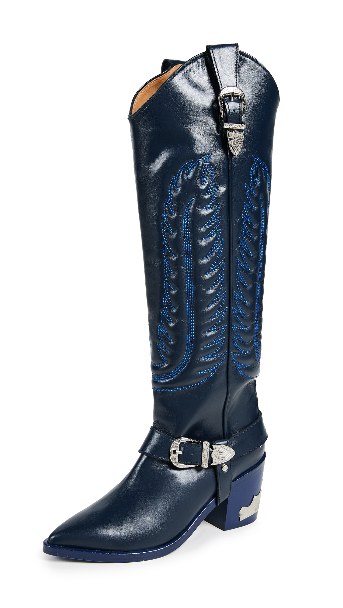 Toga Pulla Tall Buckled Boots - Blue/Grey