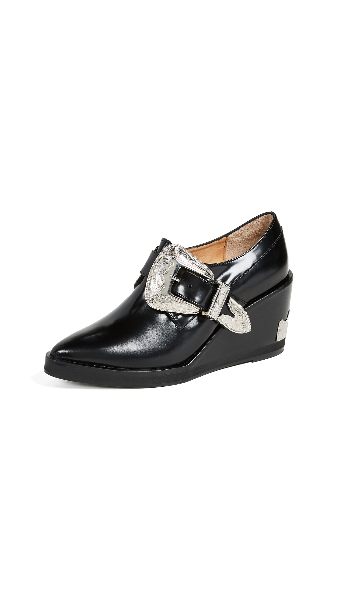Toga Pulla Buckled Wedge Oxford Shoes - Black