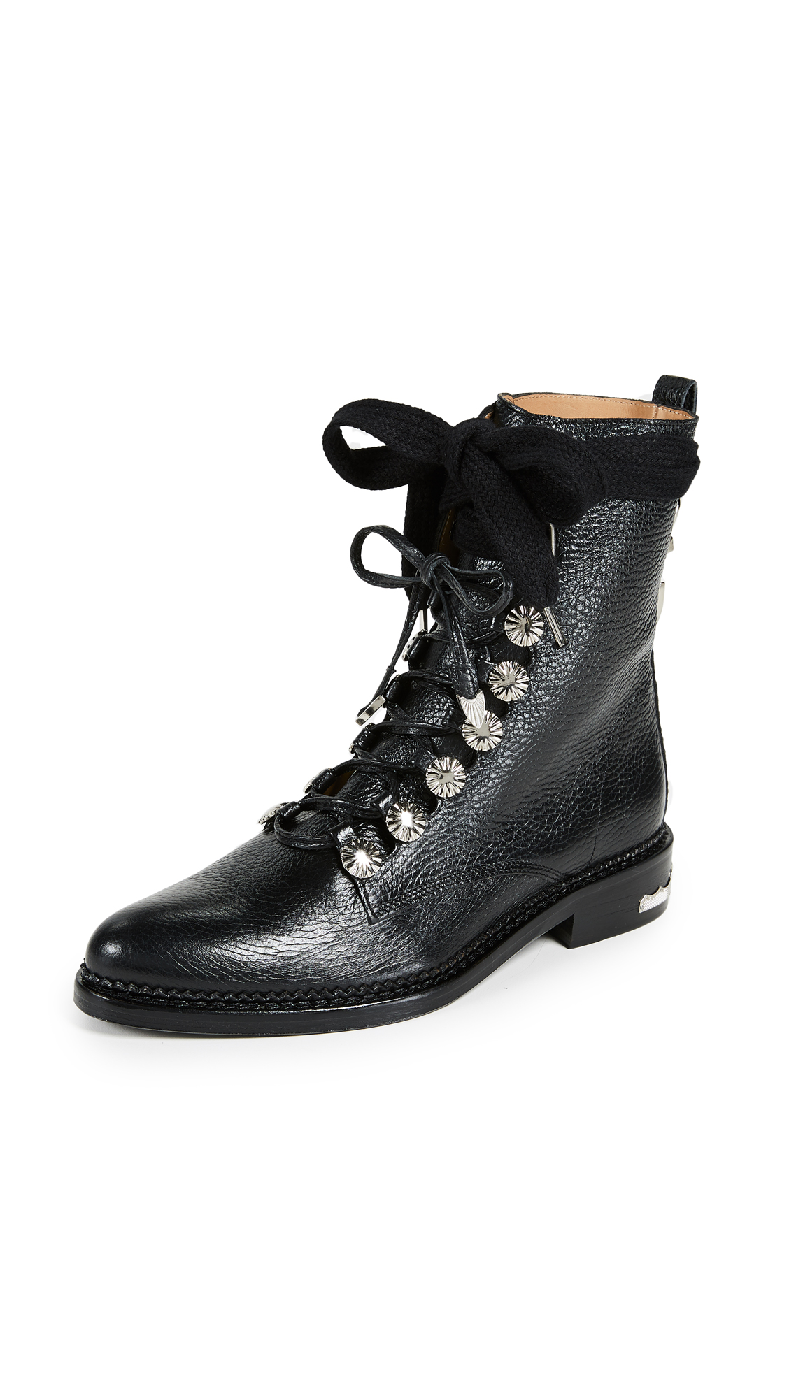 Toga Pulla Lace Up Combat Boots - Black