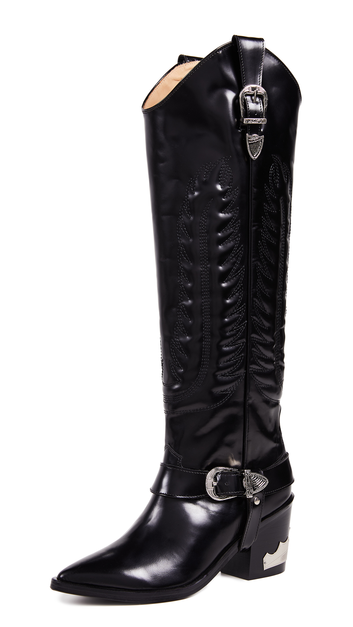 Toga Pulla Tall Buckled Boots - Black