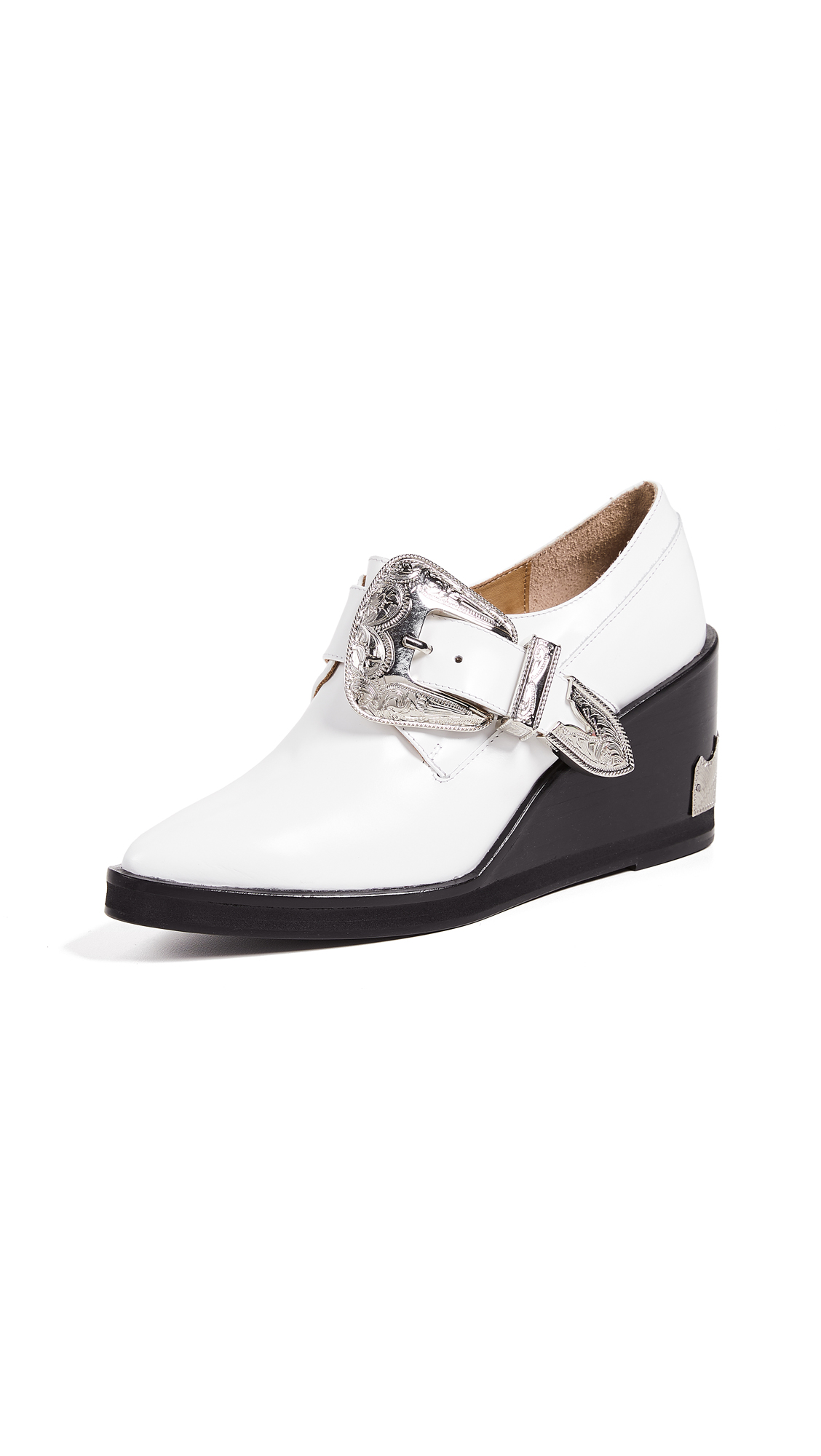 Toga Pulla Buckled Oxford Wedge - White