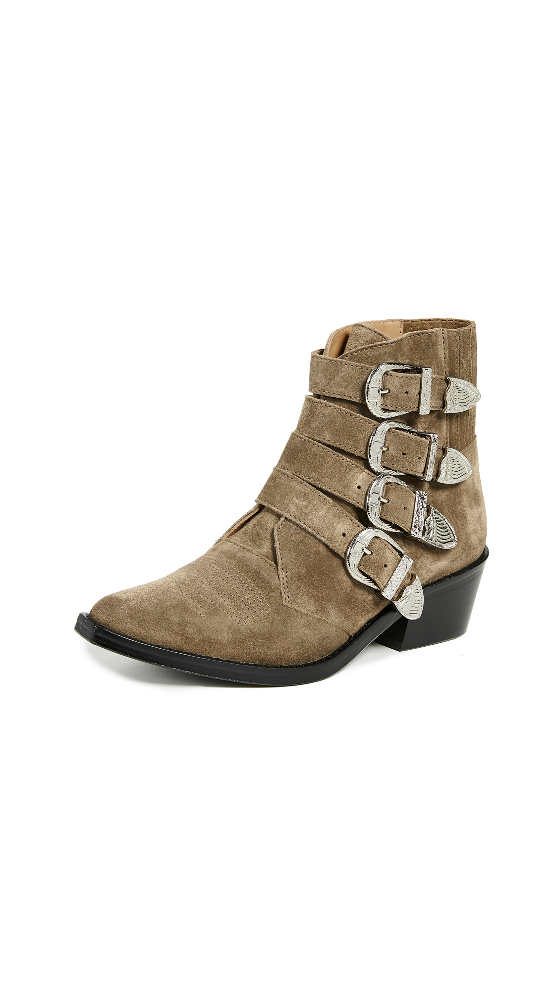 Toga Pulla Buckled Booties - Khaki