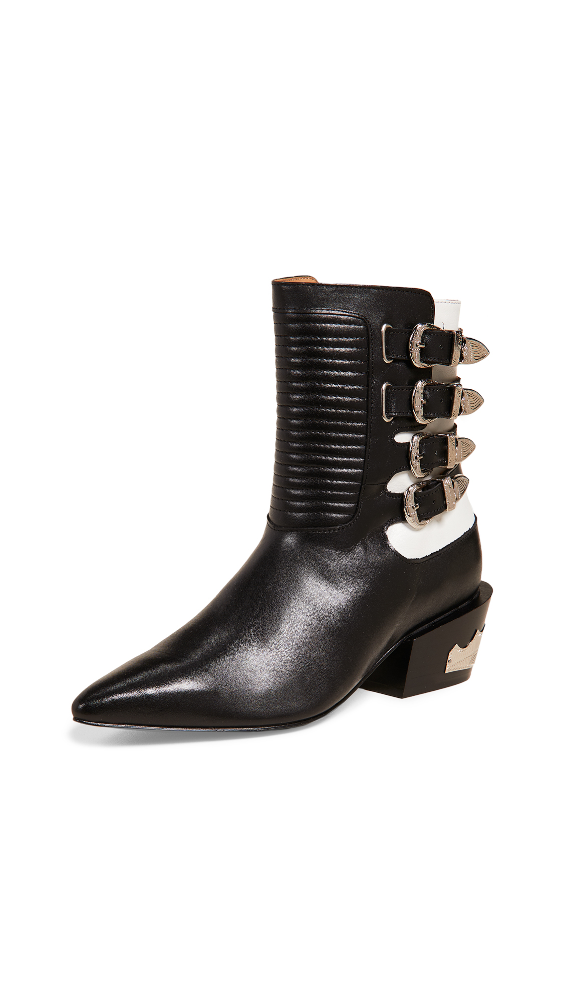 Toga Pulla Multi Buckle Boots - Black/White