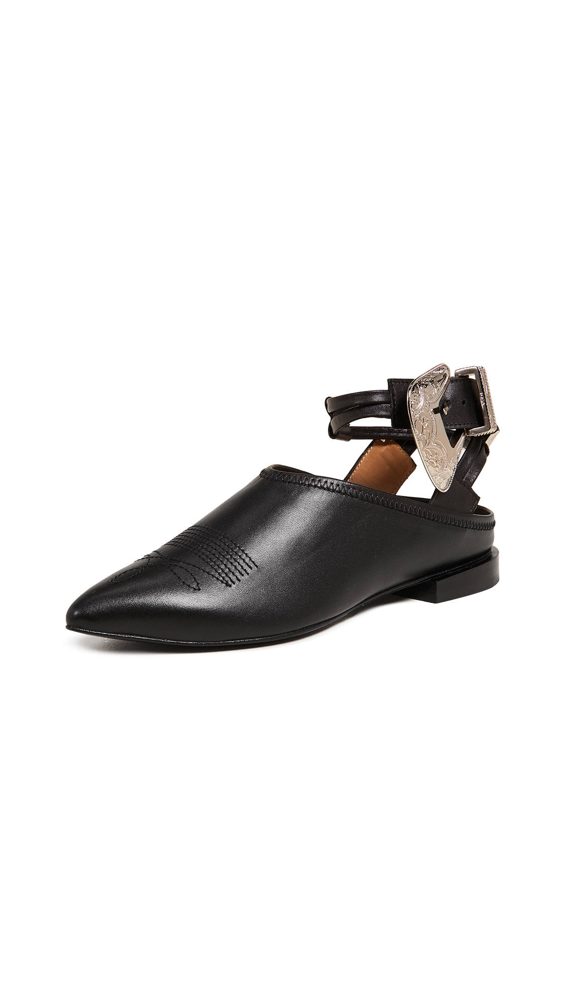 Toga Pulla Buckle Ankle Strap Mules - Black