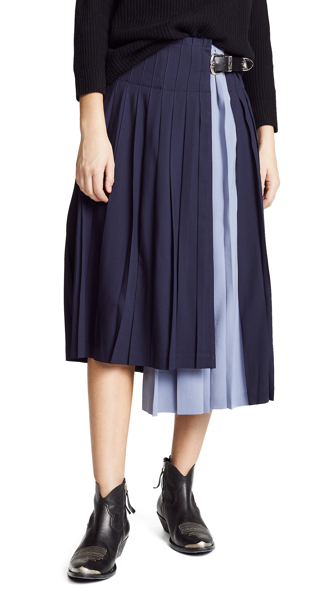 Toga Pulla Wool Pleated Skirt In Navy