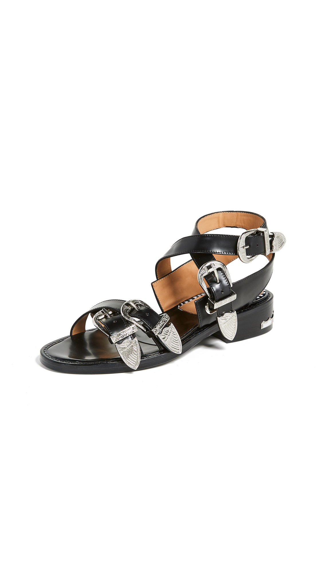 Toga Pulla Buckle Strap Sandals - Black