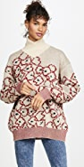 Toga Pulla Mohair Flower Jacquard Knit Pullover