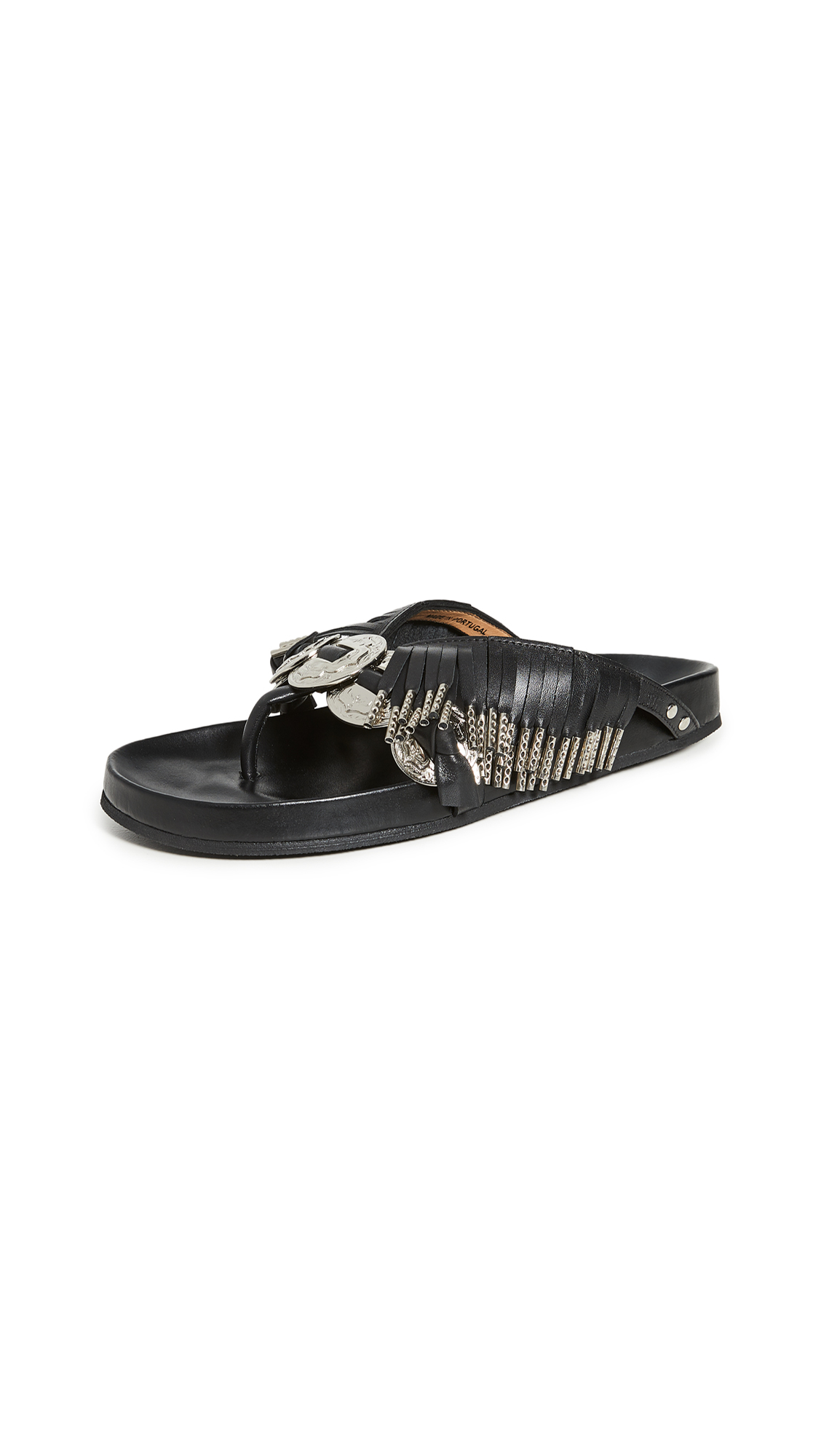 Buy Toga Pulla Metal Embellished Fringe Sandals online, shop Toga Pulla