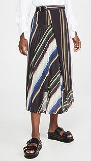Toga Pulla 西装面料羊毛裥褶半身裙条纹