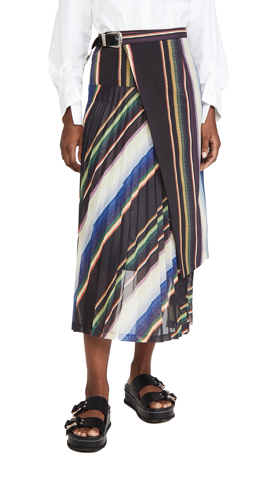 Toga Pulla Suiting Wool Pleated Skirt Stripe