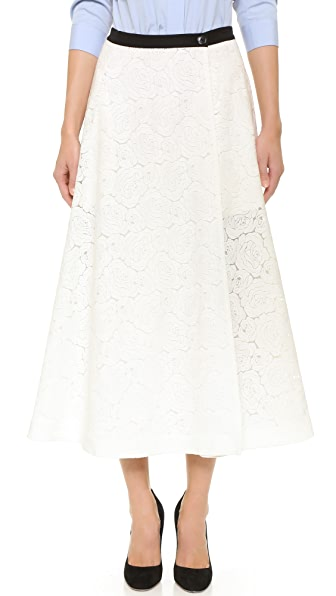 Tome Rose Lace A Line Skirt - White