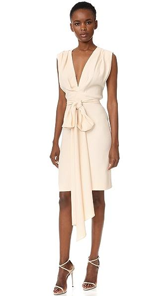 Tome Short Deep V Dress with Belt
