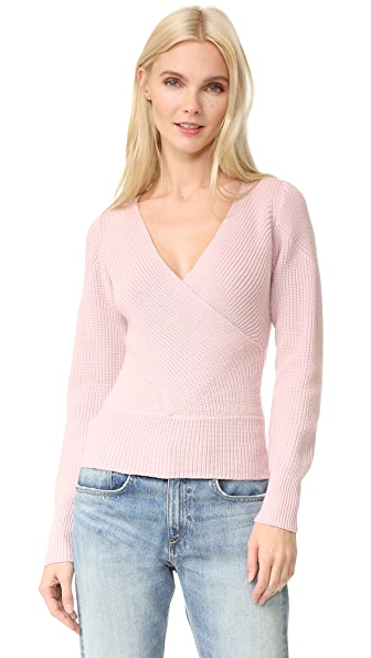 Tome Long Sleeve Crossover Sweater - Blush