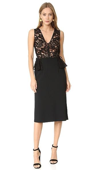 Купить Tome Платье с баской и V-образным вырезом TOMEE30071 черный