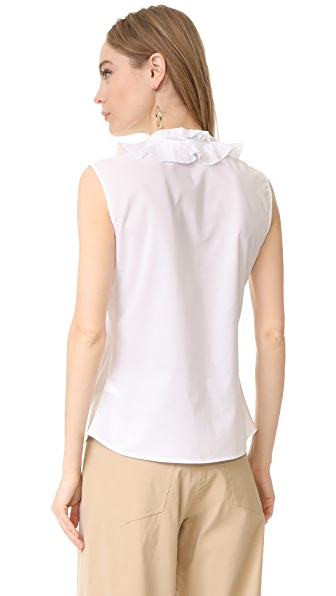 Tome Sleeveless Ruffle Collar Shirt White Modesens
