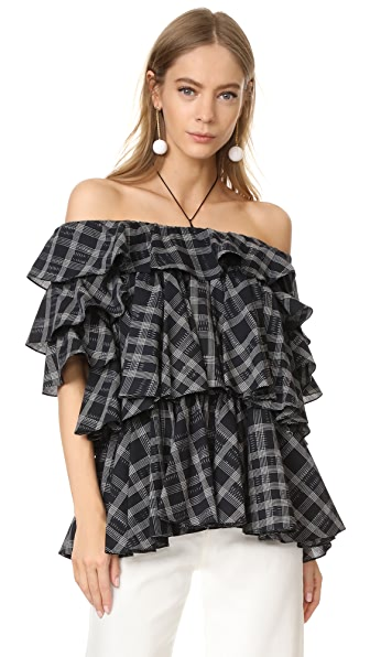 Tome Short Sleeve Ruffle Blouse