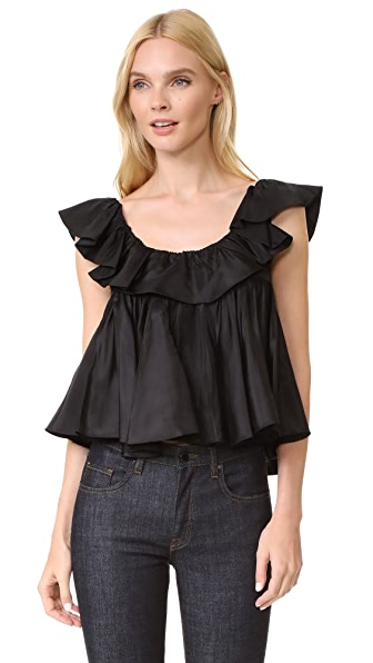 Tome Two Tiered Ruffle Top In Black
