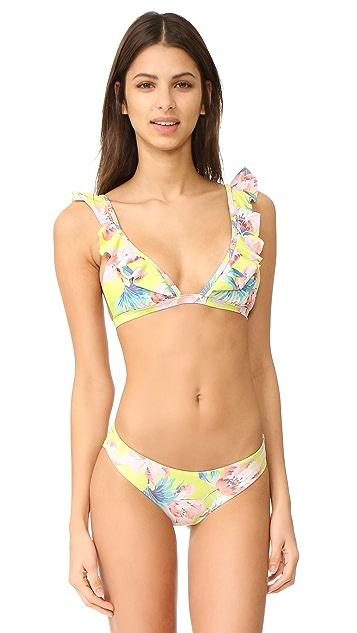 Tori Praver Swimwear Milos Floral Adriana Ruffle Bikini Top