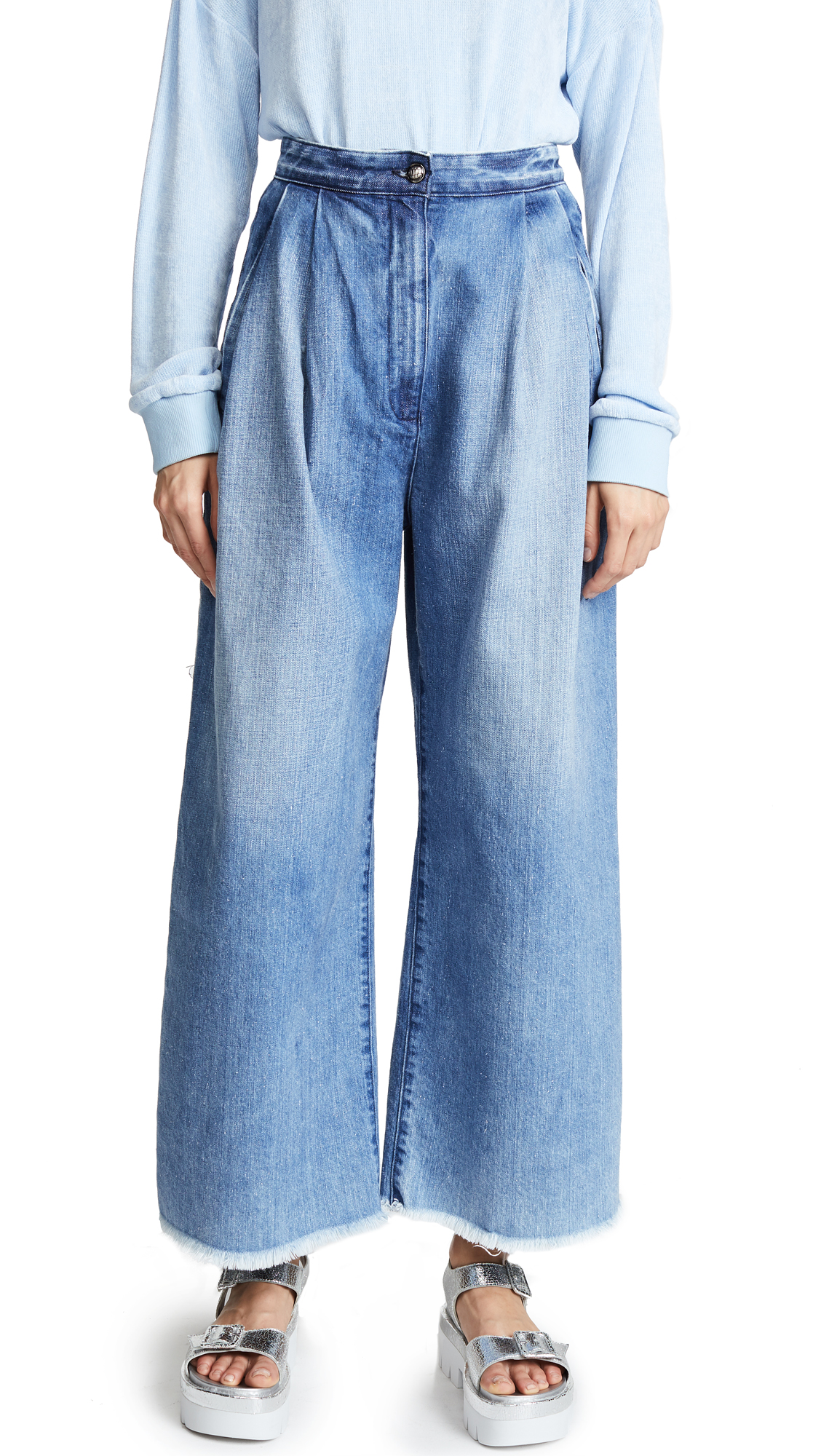 Tortoise Lucy High Waisted Baggy Trouser Jeans In Blue Medium