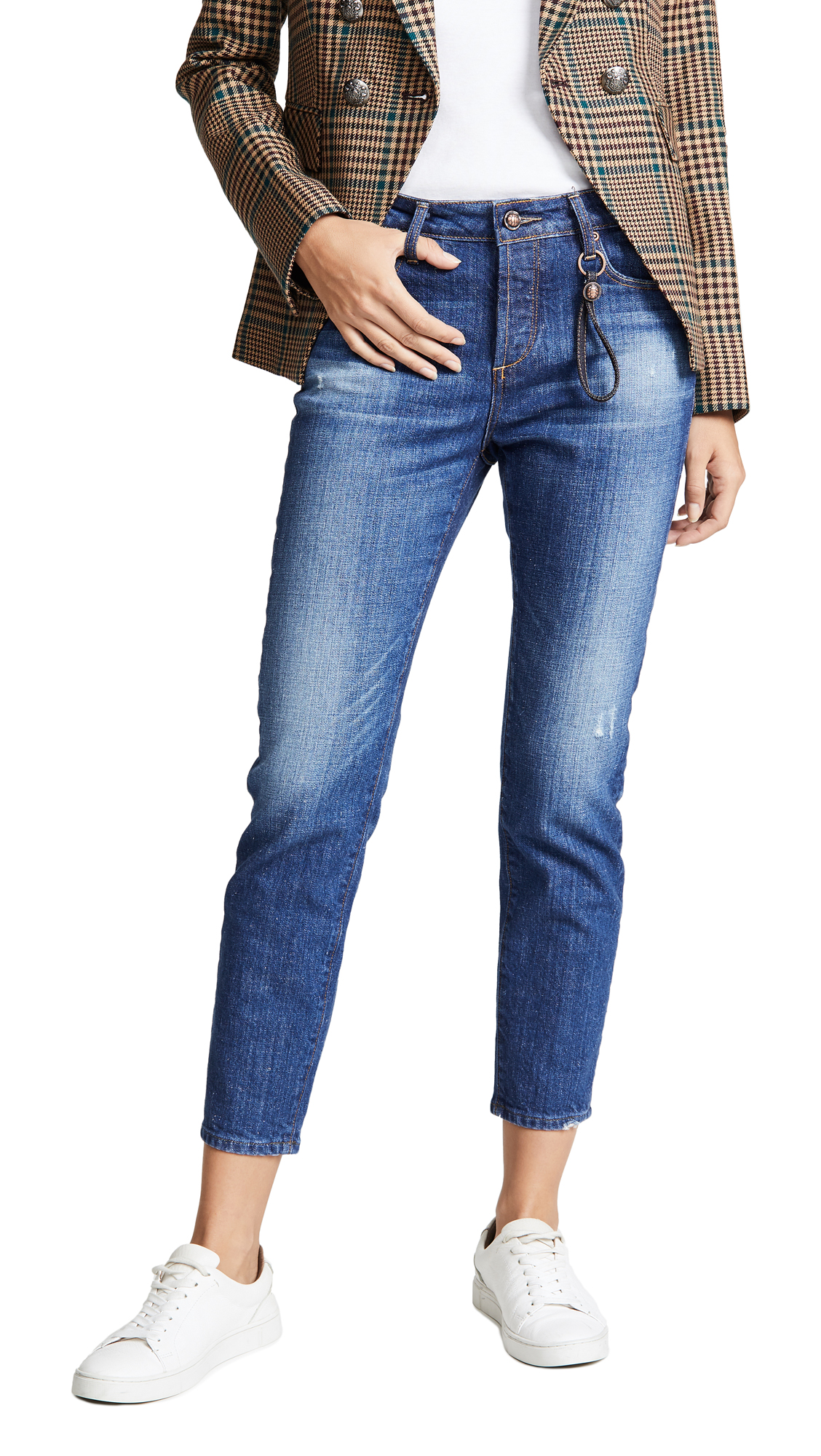 Tortoise Savanna Cropped Slim Straight Jeans In Medium Vapor