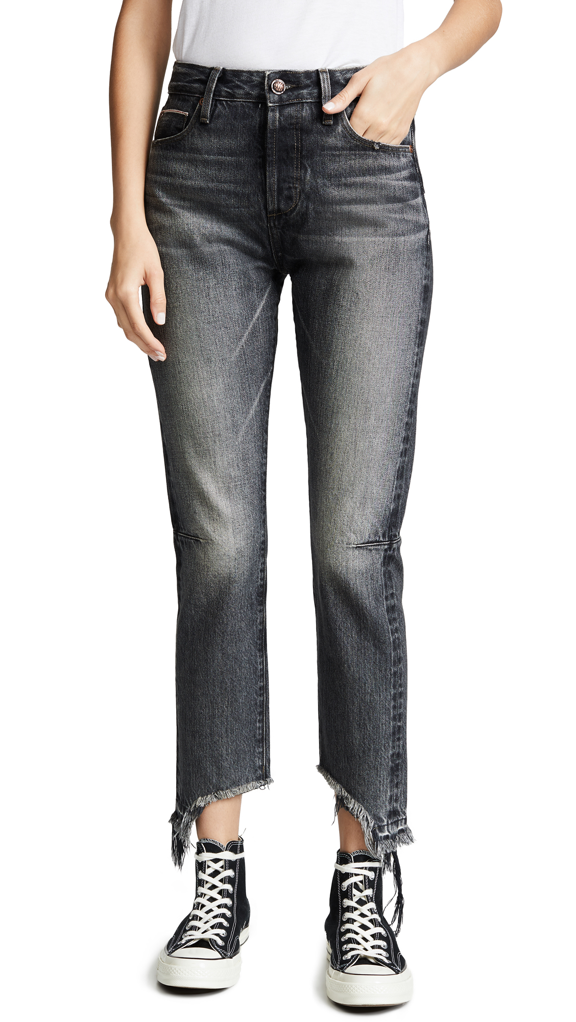 TORTOISE Dory High Rise Tapered Crop Jeans in Black Fade