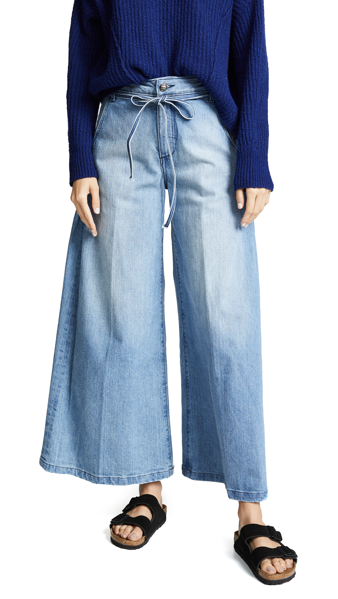 Tortoise Rachel Denim Culottes with Side Pleats In Light Thought