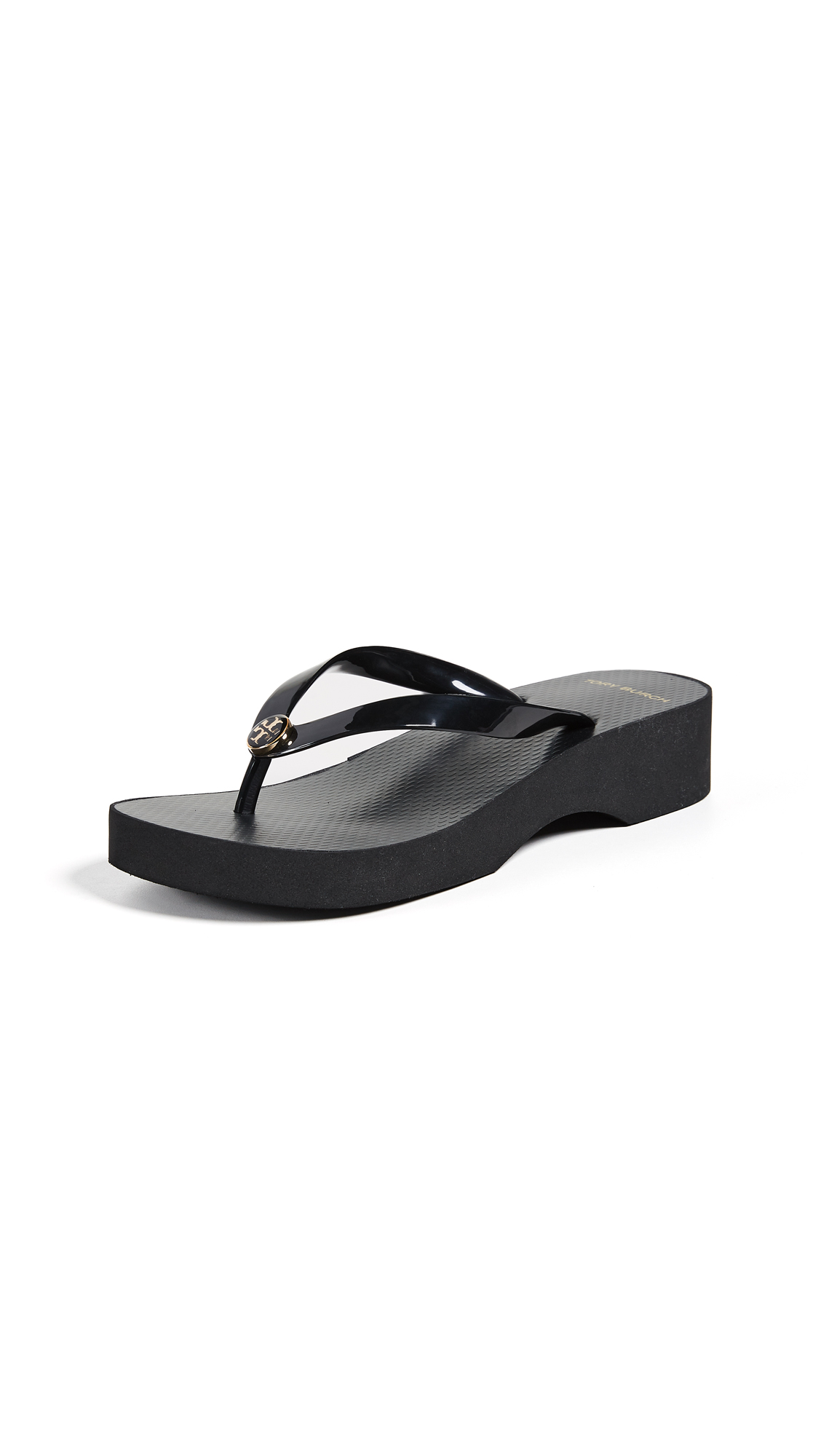 Tory Burch Cutout Wedge Flip Flops - Black/Black