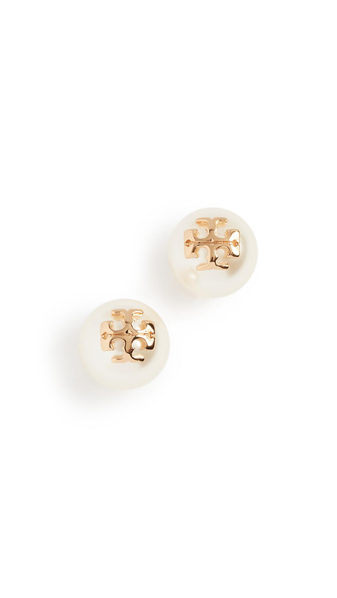 Tory Burch Swarovski Imitation Pearl Stud Earrings - Ivory/Shiny Gold