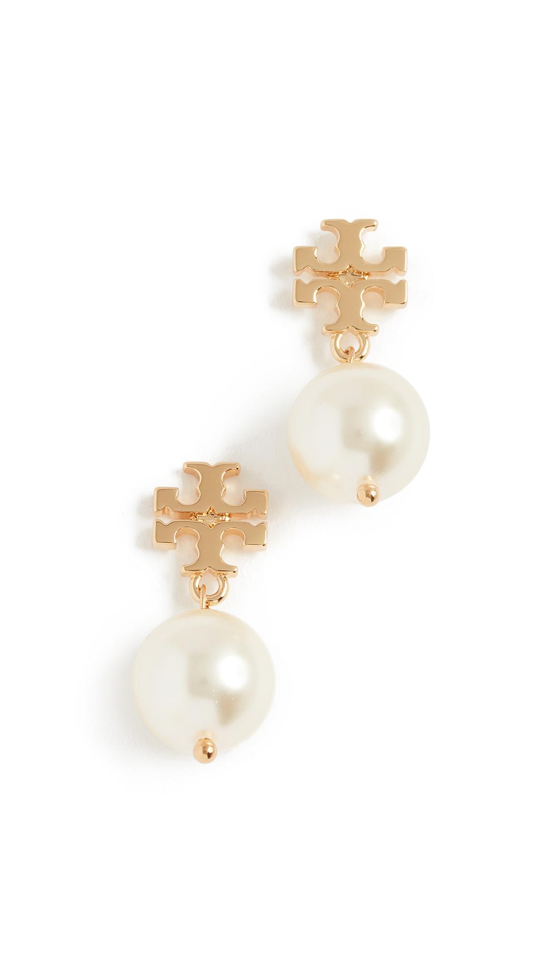Tory Burch Swarovski Crystal Imitation Pearl Drop Earrings - Ivory/Shiny Gold