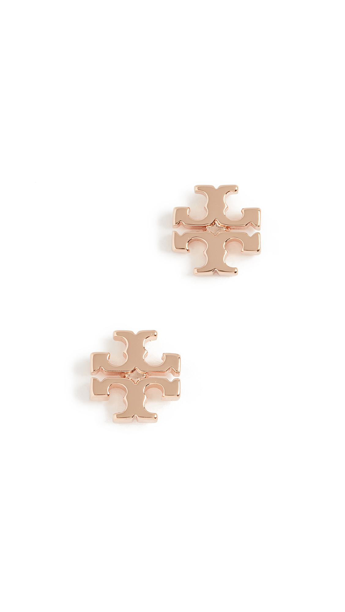 Tory Burch Logo Stud Earrings - Rose Gold
