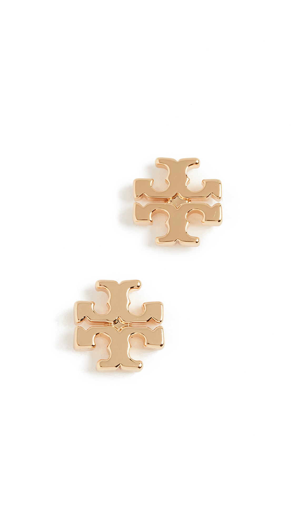 Tory Burch Logo Stud Earrings - Shiny Gold