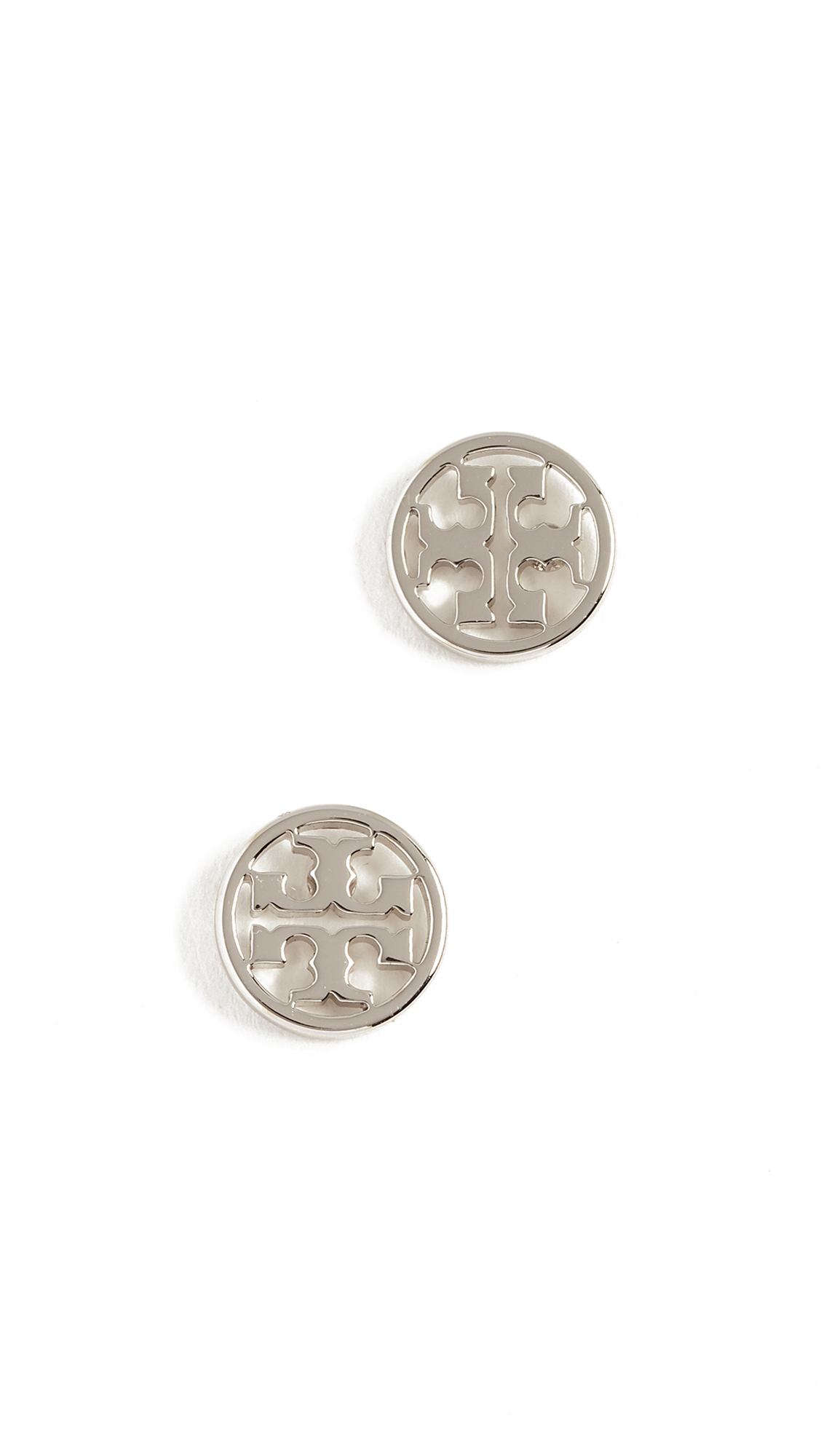 Tory Burch Logo Circle Stud Earrings - Tory Silver