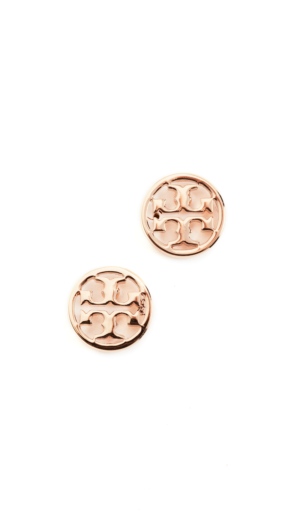 Tory Burch Logo Circle Stud Earrings - Rose Gold
