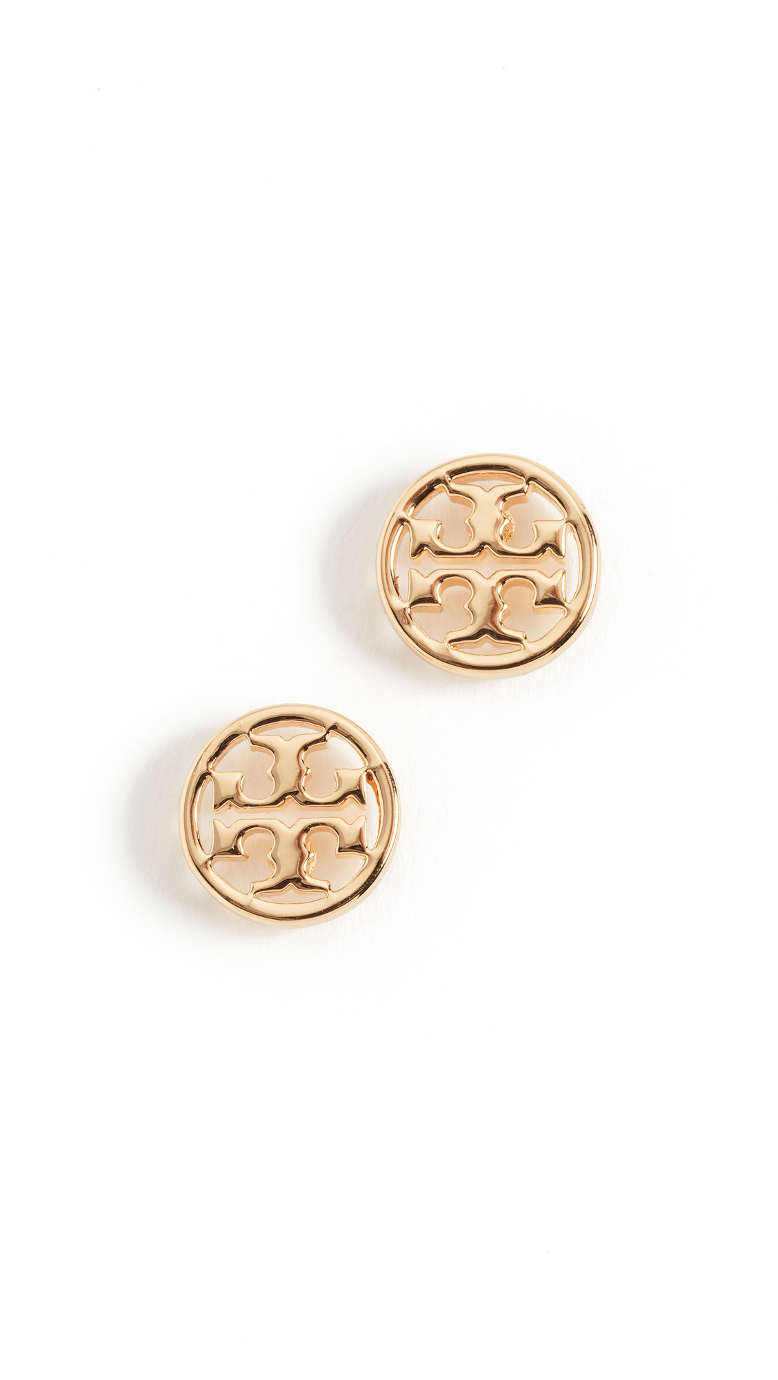 Tory Burch Logo Circle Stud Earrings - Shiny Gold