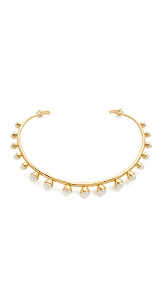 Tory Burch Imitation Pearl Bud Collar Necklace