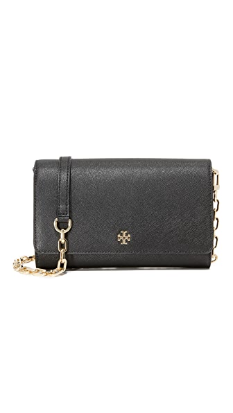 Tory Burch Robinson Chain Wallet - Black