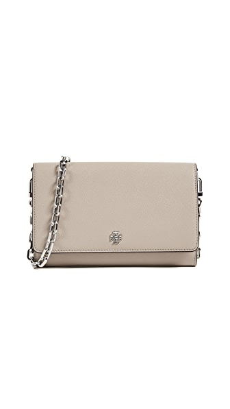 Tory Burch Robinson Chain Wallet In French Gray
