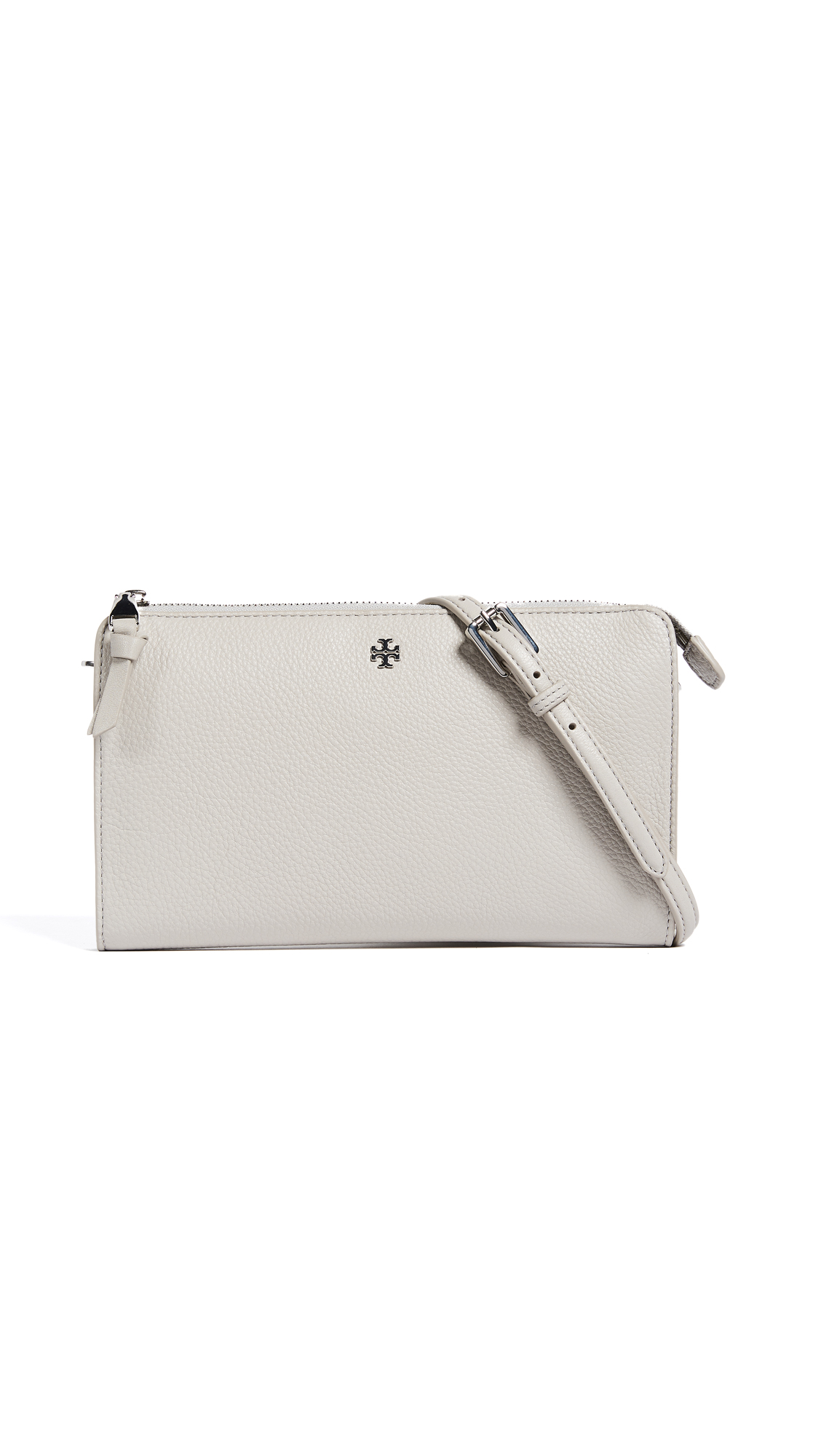 Tory Burch Robinson Pebbled Cross Body Wallet - Concrete